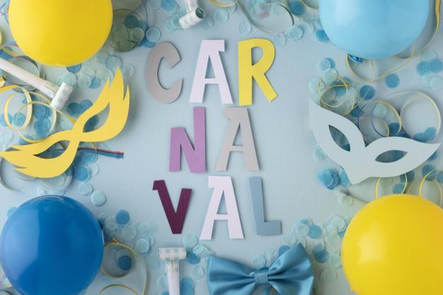 cartel letras carnaval con globos, mascaras, serpentinas y confeti.